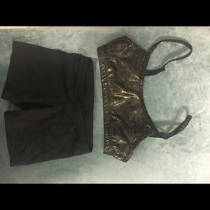 L Capezio nwot black gold top and dance shorts